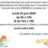 Ouverture de l'accueil de votre CMCAS